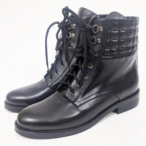 Napoleoni Made in Italy Leather Combat Boots Black